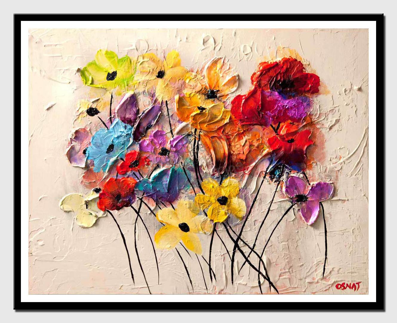 canvas print of colorful flowers textured abstract painting