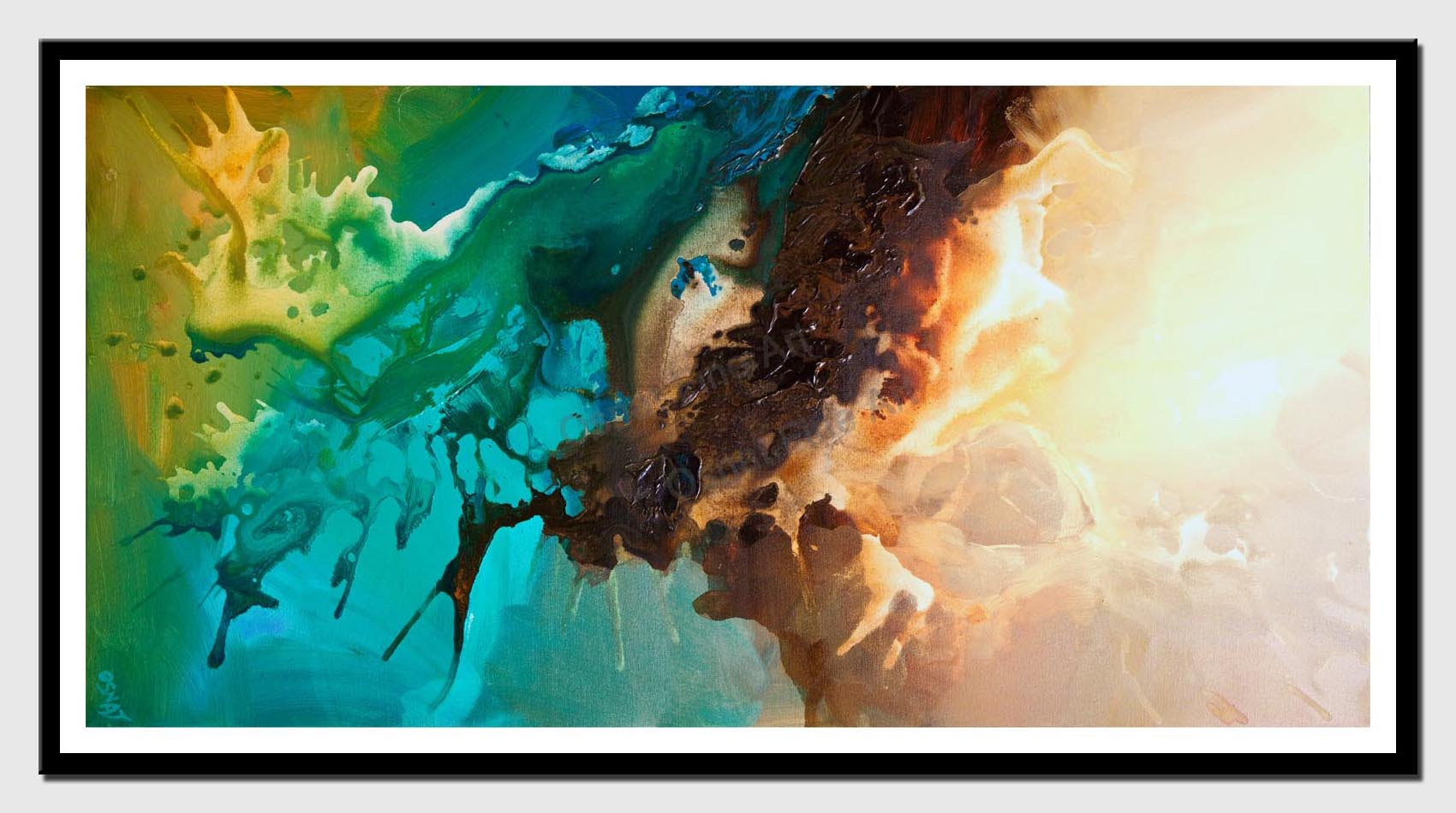 canvas print of modern painting vertical colourful blend