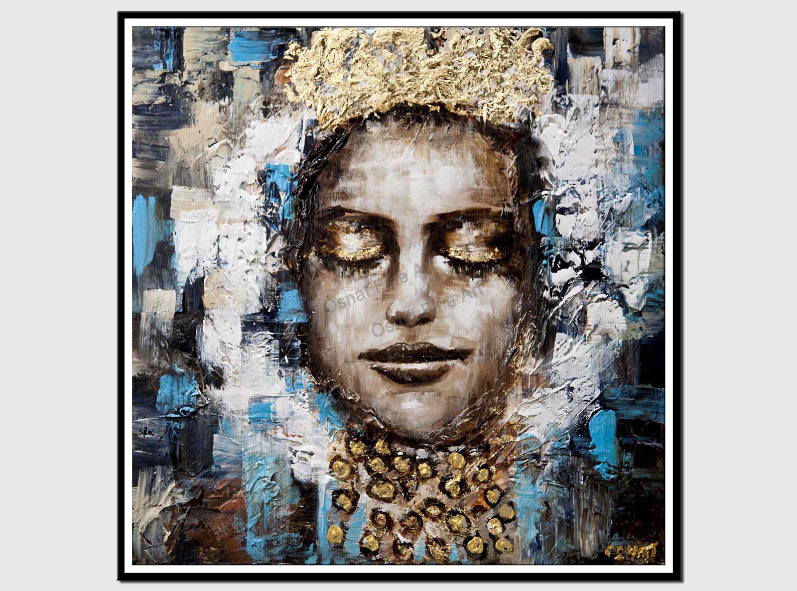 canvas print of queen painting woman with a crown abstract painting