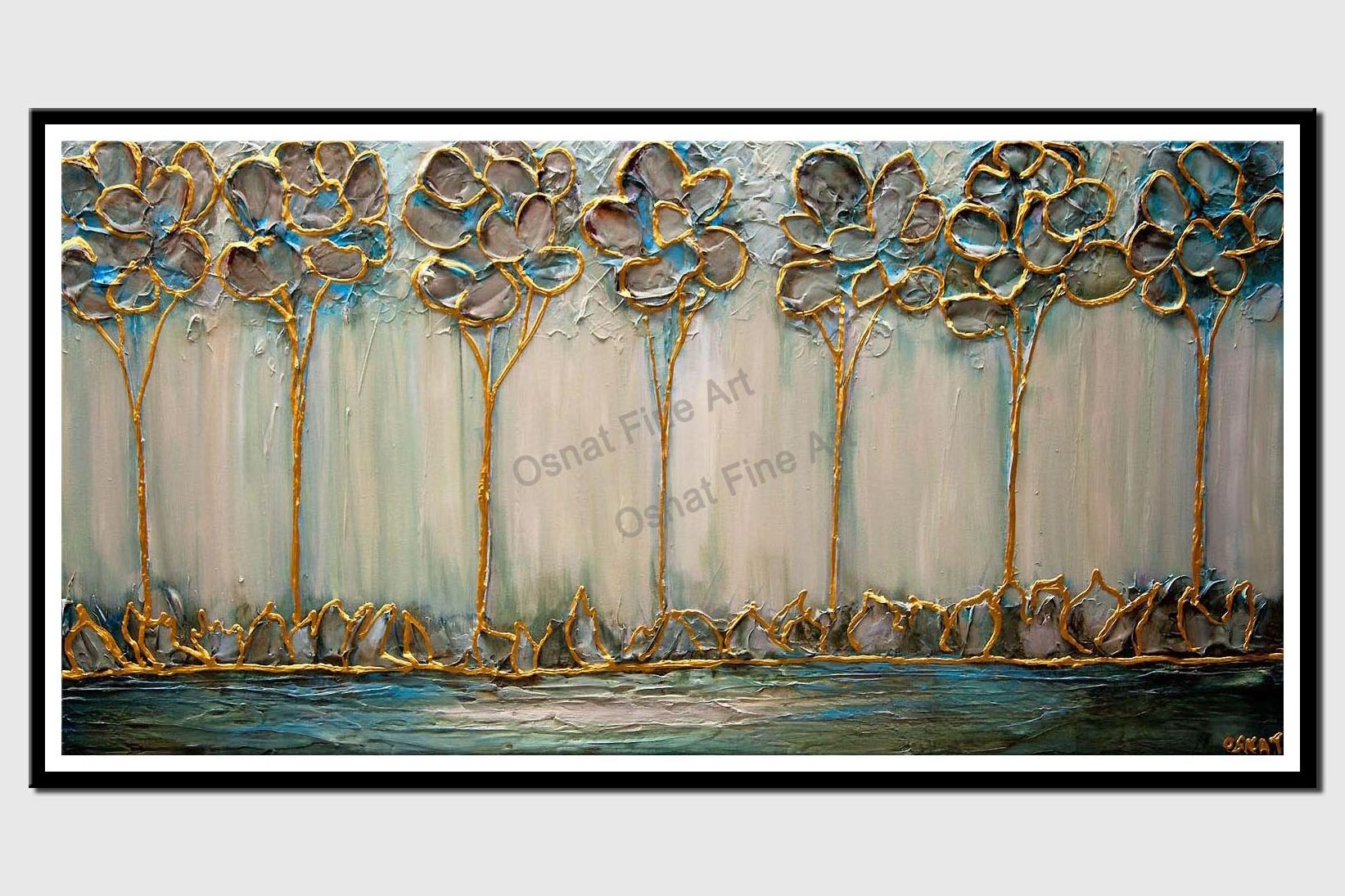 Modern gold textured trees green abstract painting