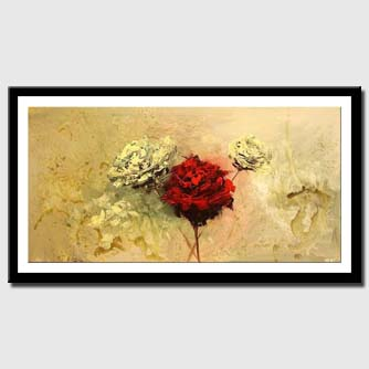canvas print of large roses painting