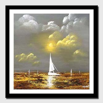 canvas print of sail boat abstract landscape painting