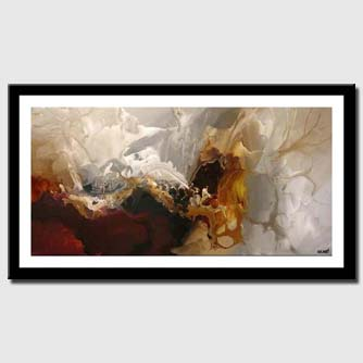 canvas print of soft abstract modern painting red and white