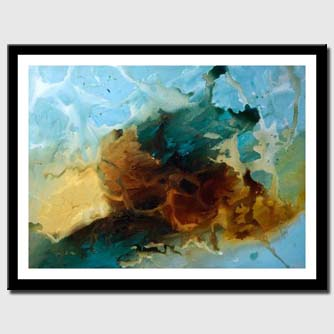 canvas print of blue and brown modern painting