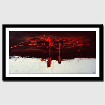 canvas print of red and white abstract decor