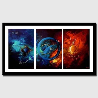canvas print of modern triptych canvas in blue and red
