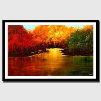 canvas print of red yellow and green forests near a lake