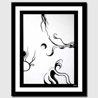 canvas print of black and white abstract painting