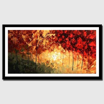 canvas print of brown and red forest landscape