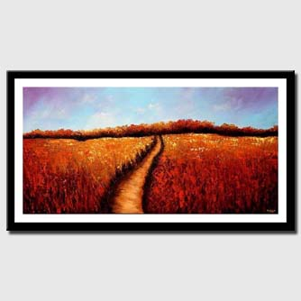 canvas print of red field of flowers with trail in the middle