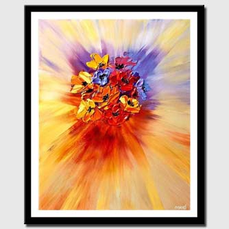 canvas print of abstract painting of bunch of colorful flowers