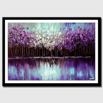 canvas print of purple forest reflected in the lake