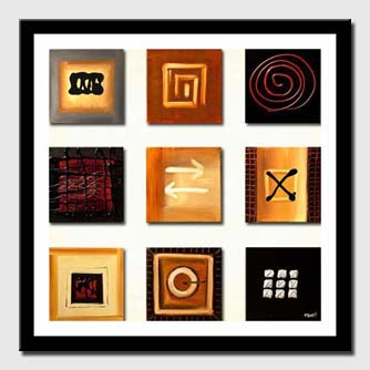 canvas print of nine small panels of abstract signs