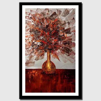 canvas print of golden vase full of flowers