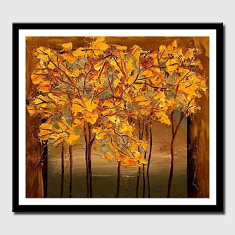 canvas print of square painting of trees