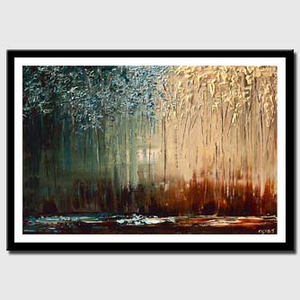canvas print of painting of forest with thin trunks