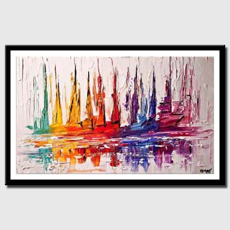 canvas print of abstract boats on white background