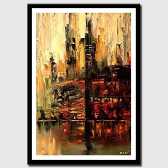 canvas print of abstract cityscape in red