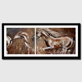 canvas print of diptych of horses running
