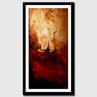 canvas print of vertical abstract of sailboat in storm