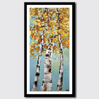canvas print of  Birch Trees Abstract Landscape Palette Knife