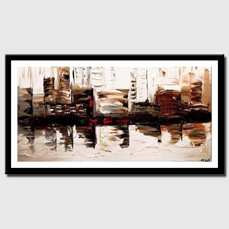 canvas print of  Cityscape painting modern palette knife