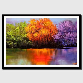 canvas print of colorful landscape painting blooming trees on a lake