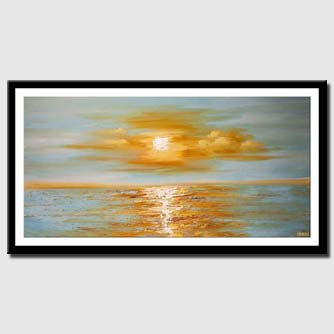 canvas print of modern palette knife abstract sea sunrise