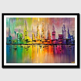 colorful skyline city painting palette knife