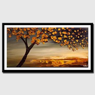canvas print of blooming-tree-modern-abstract-landscape-painting