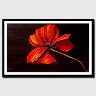 canvas print of red poppy modern palette knife painting