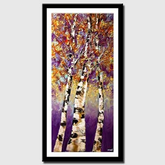 canvas print of blooming birch trees modern palette knife