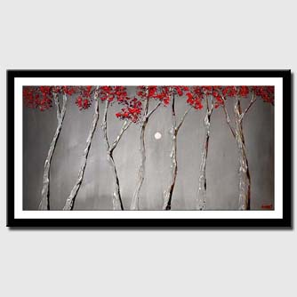 canvas print of blooming silver trees red tree tops heavy texture