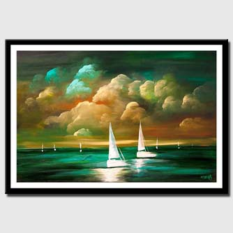 canvas print of turquoise seascape abstract sunset painting