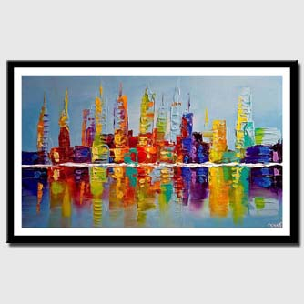 canvas print of modern city skyline colorful abstract painting texture palette knife