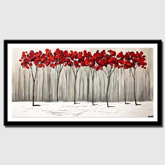 canvas print of red blooming trees winter painting palette knife