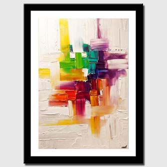 canvas print of colorful abstract painting on white background texture