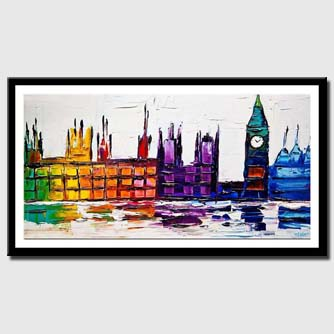 canvas print of city lights abstract painting modern palette knife
