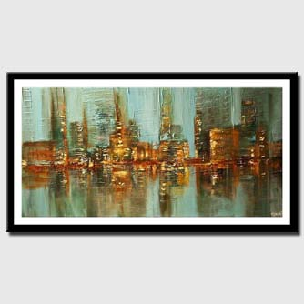 canvas print of Abstract city lights painting water reflection skyscrapers heavy texture