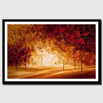 canvas print of Indian-summer-blooming-trees-landscape-painting_tn