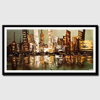 canvas print of abstract city painting heavy impasto textured palette knife