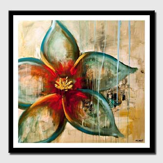 canvas print of raw abstract flower painting blue rust acrylic painting