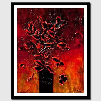 canvas print of red black flowers in vase heavy texture painting