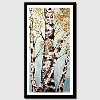 canvas print of silver birch trees painting textured
