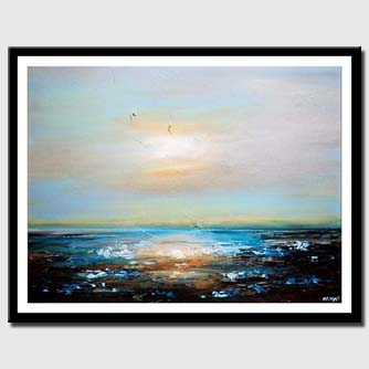 canvas print of Seascape painting textured modern palette knife
