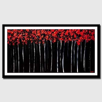 canvas print of red forest landscape painting textured blooming trees painting