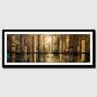 canvas print of Downtown city shorline skyscrapers painting mixed media