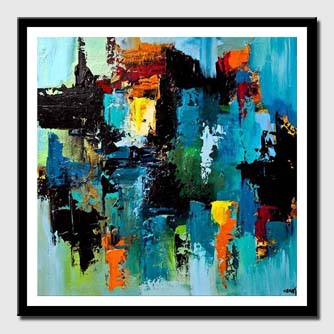 canvas print of colorful blue abstract art modern palette knife