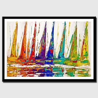 canvas print of original colorful sailboats painting abstract art