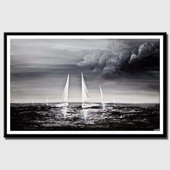 canvas print of sailboats sea textured painting black gray white home decor